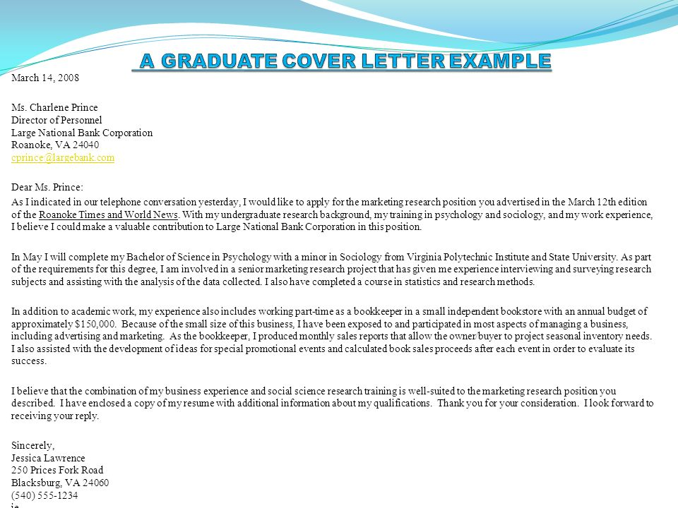 a graduate cover letter example speculative covering letter examples