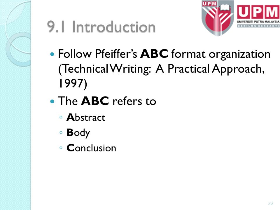 Technical writing abc format writing