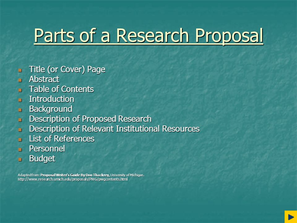 table of contents thesis proposal