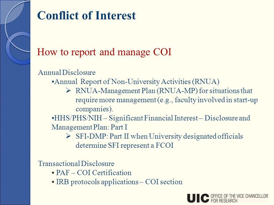 conflict of interest management plan template - new faculty orientation ppt download