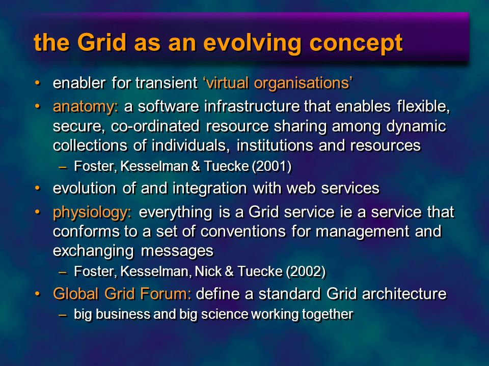 the Grid as an evolving concept