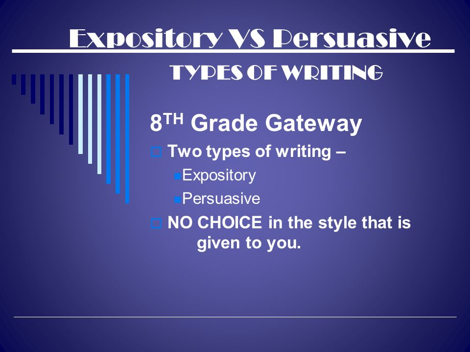 types of expository essays powerpoint Expository essays an expository essay is a specific kind of essay that involves investigating an idea, evaluating the evidence, presenting the idea, and supporting the presentation with an argument expository essays are usually written through comparison and contrast, definition, example, and the analysis of cause and effect.
