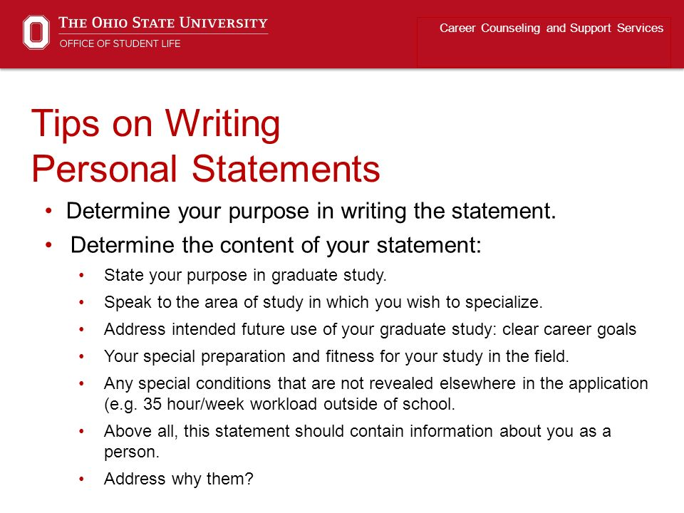 personal statements for graduate school