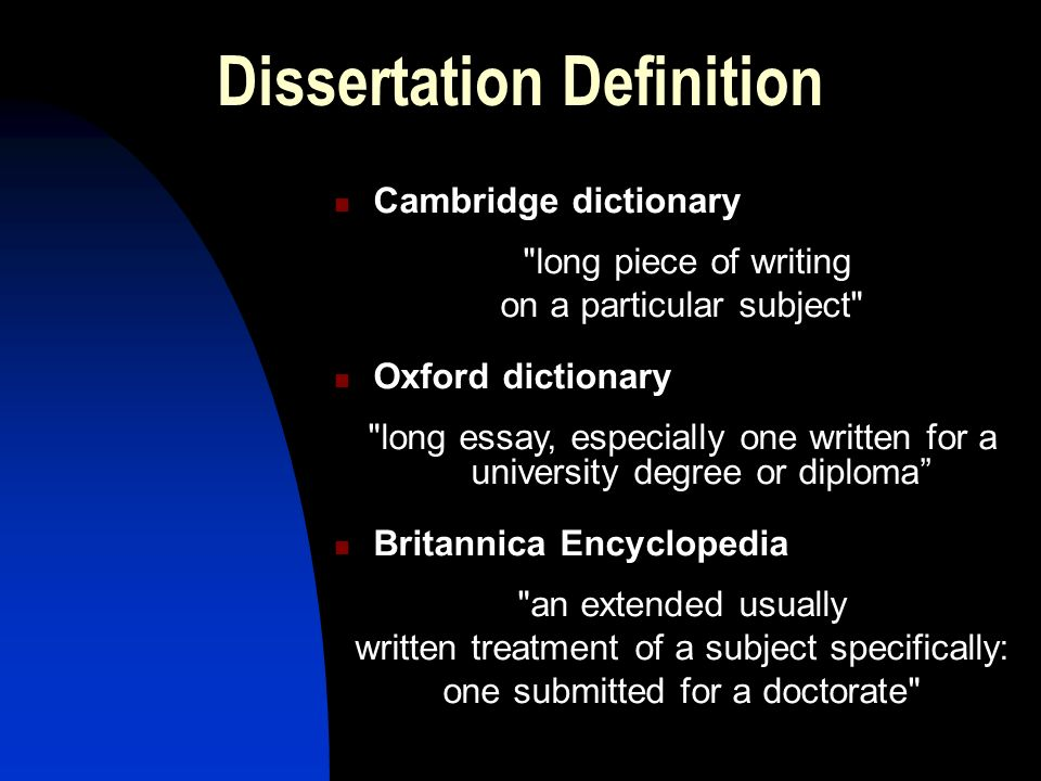 Dissertation dictionary