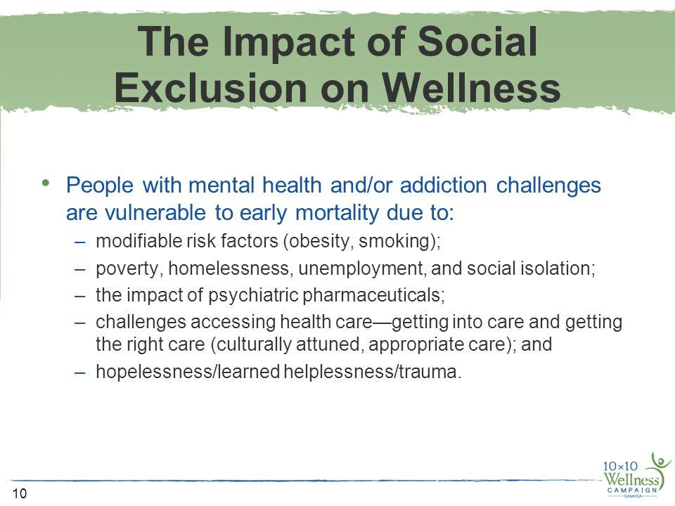 impact of social exclusion on physical and mental health Exclusion is both cause and consequence of mental ill‐health and extends beyond material deprivation to exclusion from the activities which give meaning to life.