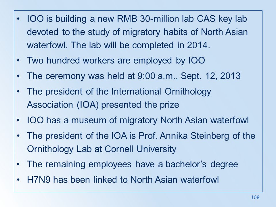 IOO is building a new RMB 30-million lab CAS key lab devoted to the study of migratory habits of North Asian waterfowl. The lab will be completed in 2014.