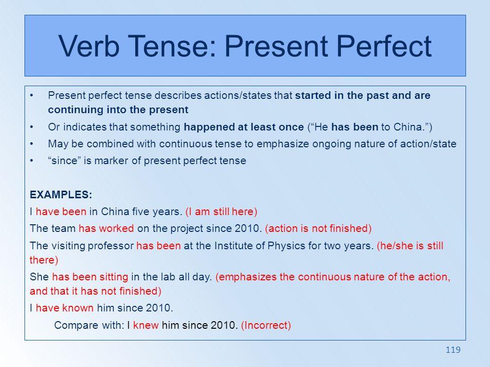 Verb Tense: Present Perfect