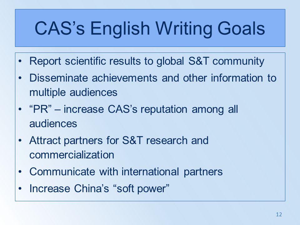 CAS's English Writing Goals