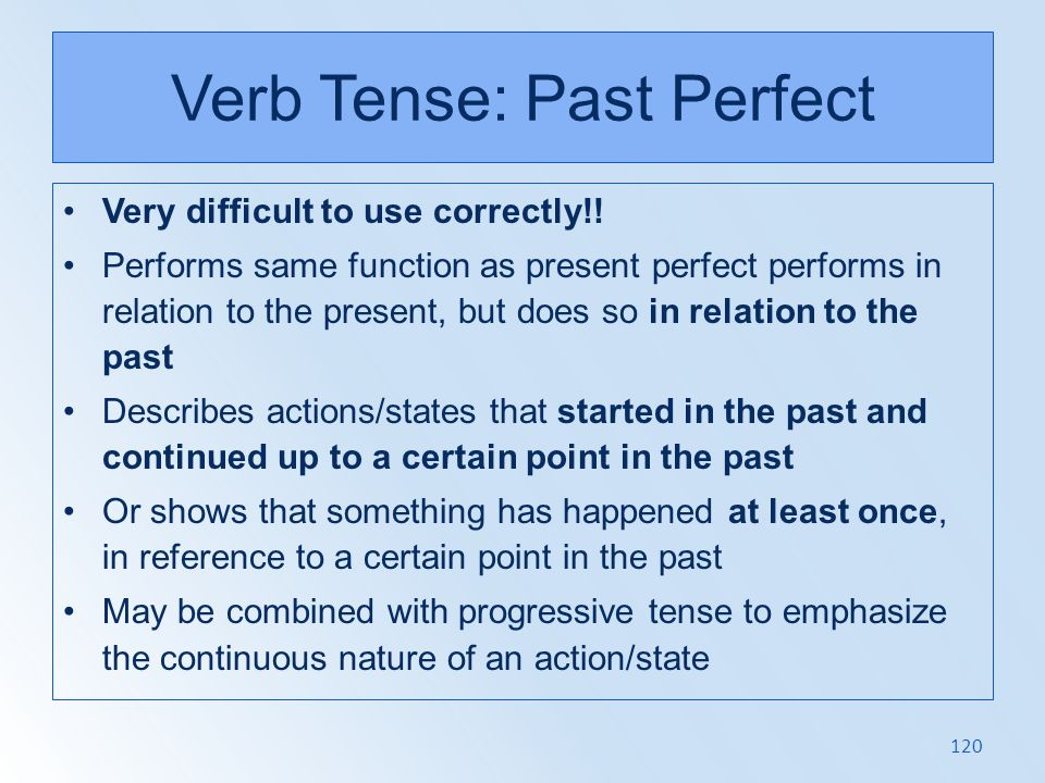 Verb Tense: Past Perfect