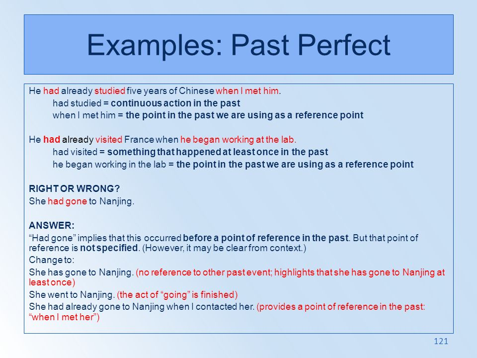 Examples: Past Perfect