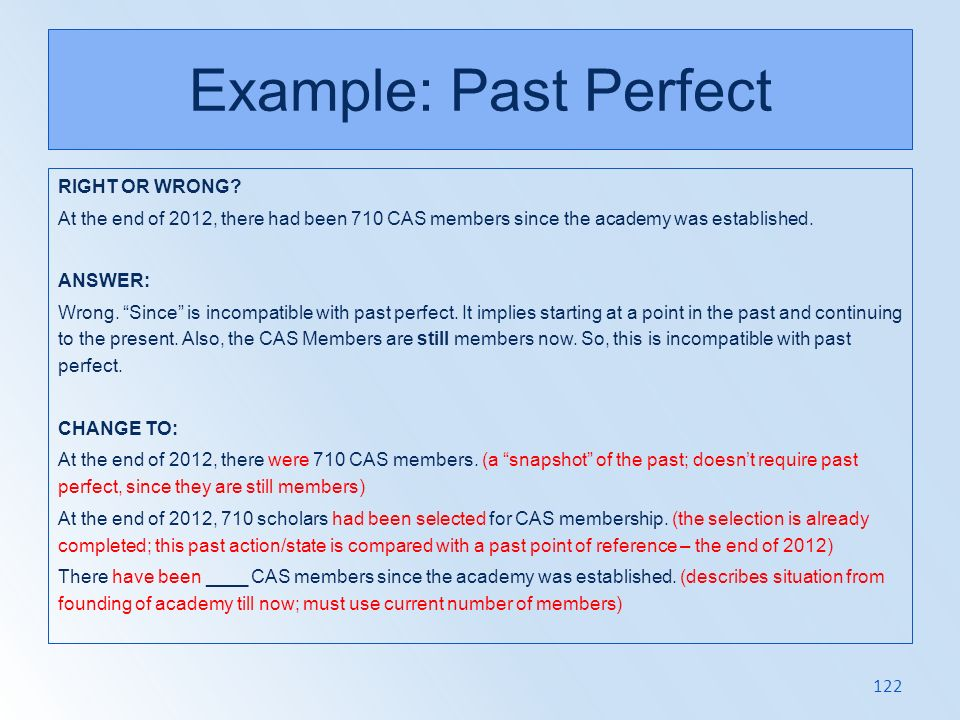 Example: Past Perfect