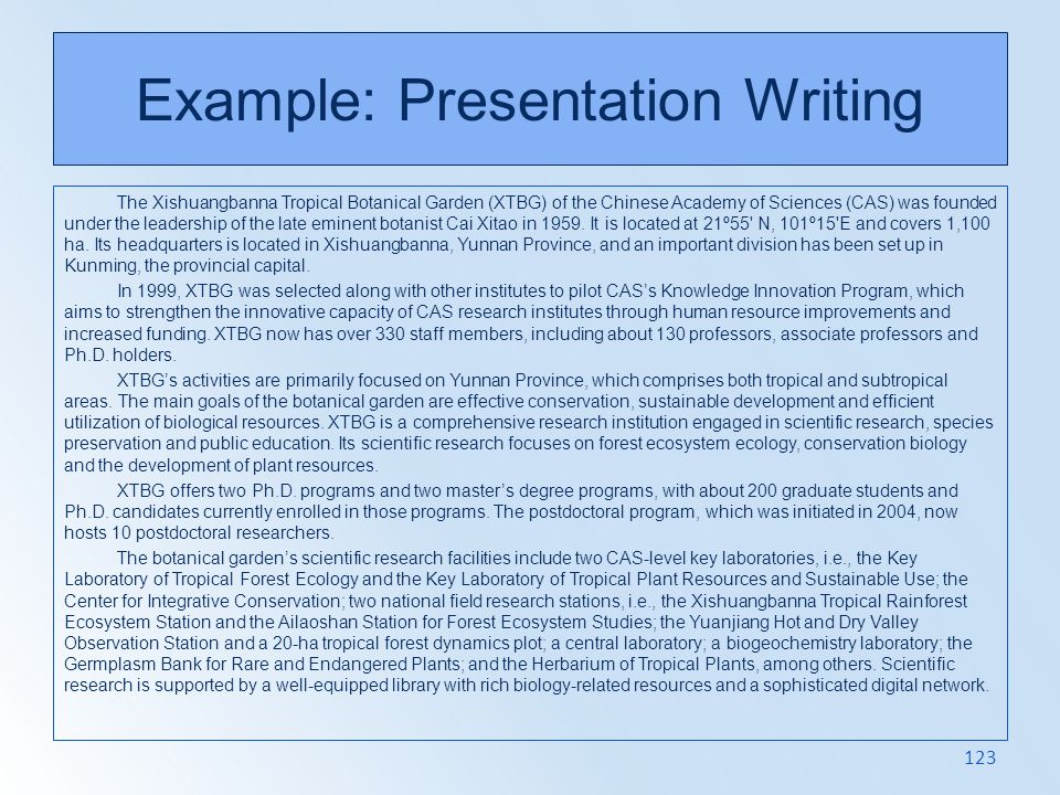 Example: Presentation Writing