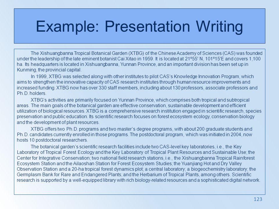 Example: Presentation Writing