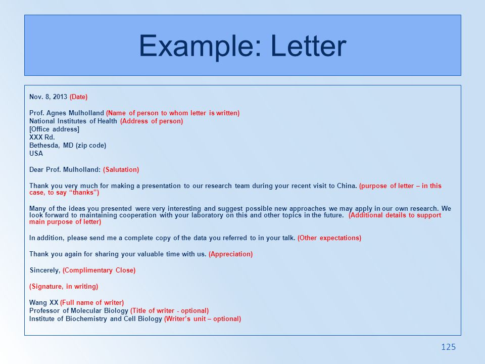 Example: Letter