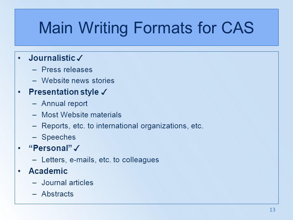 Main Writing Formats for CAS