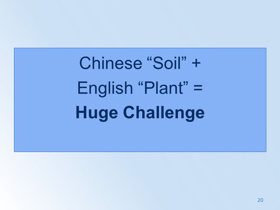 Chinese Soil + English Plant = Huge Challenge