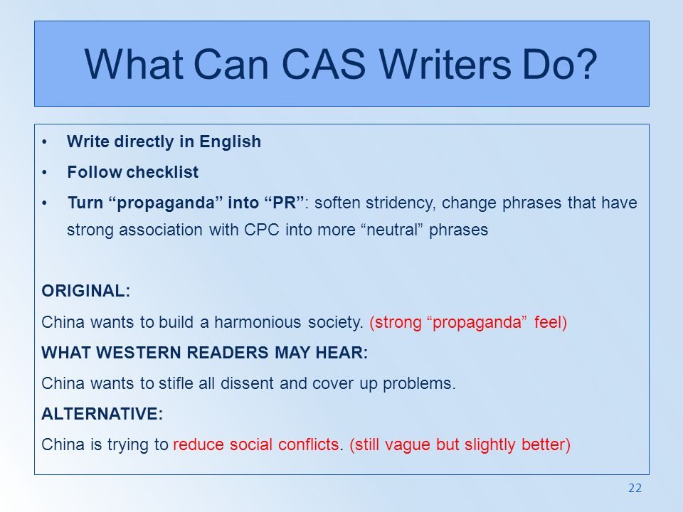 What Can CAS Writers Do Write directly in English Follow checklist