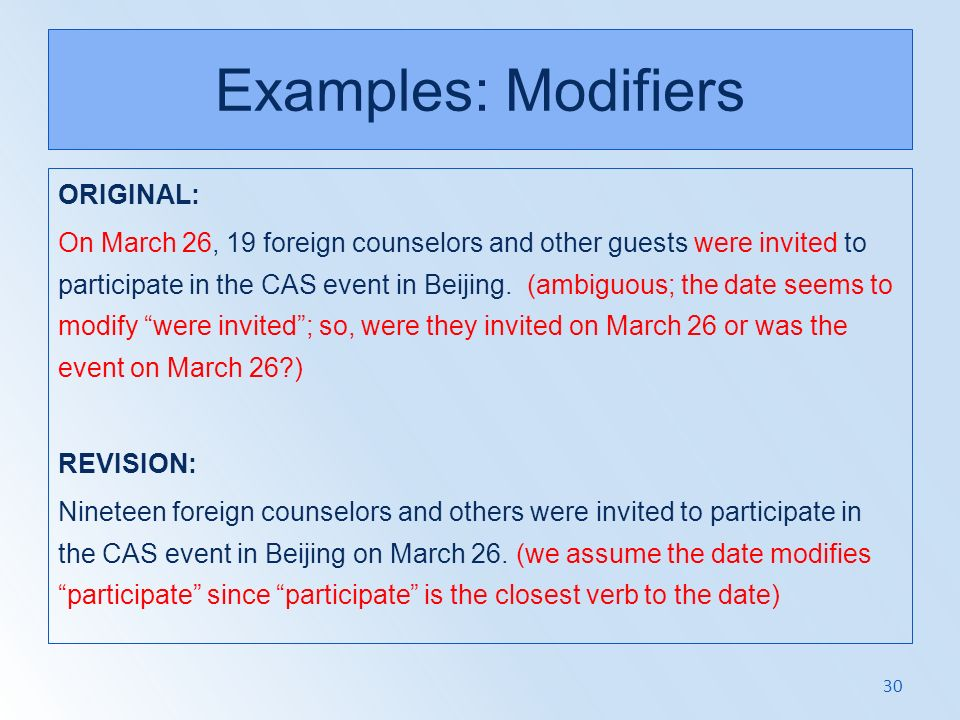 Examples: Modifiers