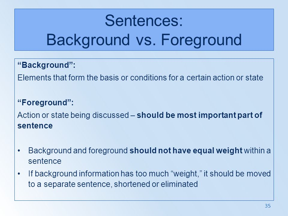 Sentences: Background vs. Foreground