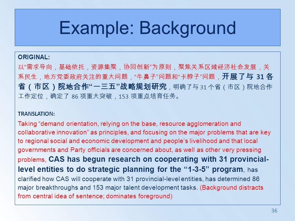 Example: Background ORIGINAL: