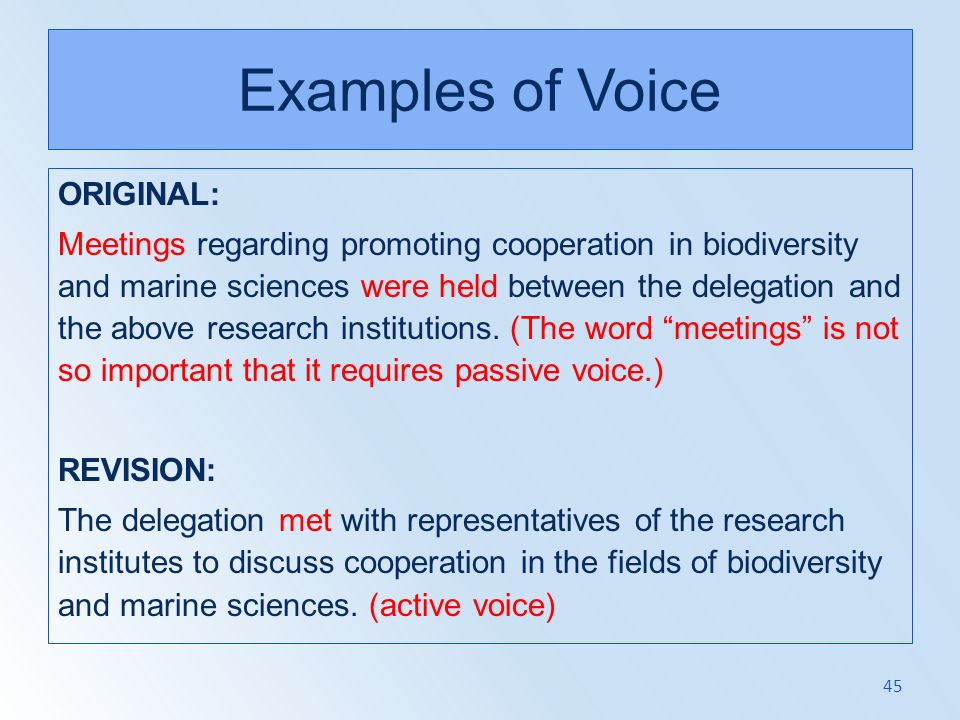 Examples of Voice ORIGINAL: