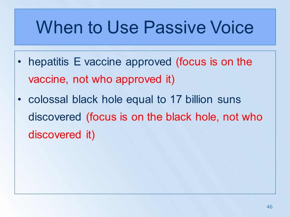 When to Use Passive Voice