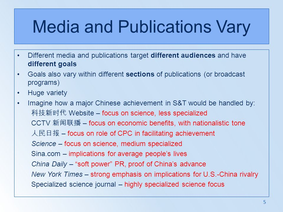 Media and Publications Vary