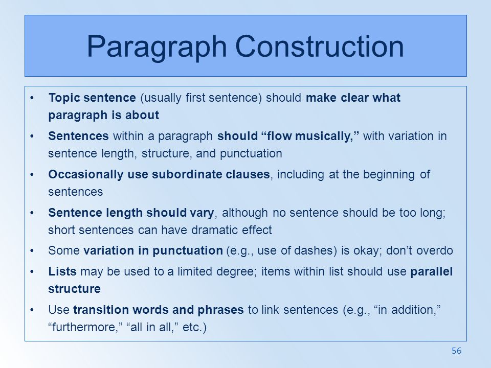 Paragraph Construction
