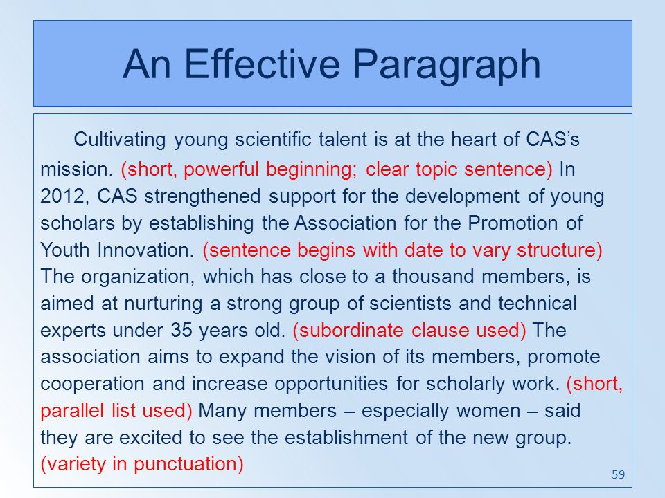 An Effective Paragraph