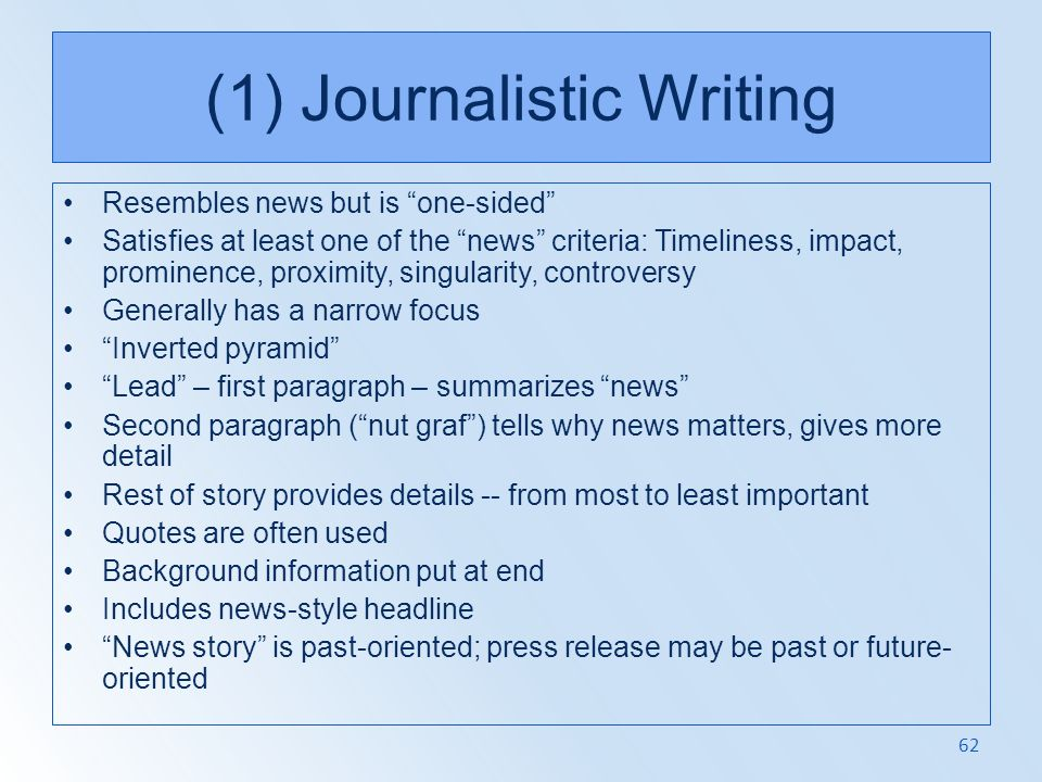 (1) Journalistic Writing