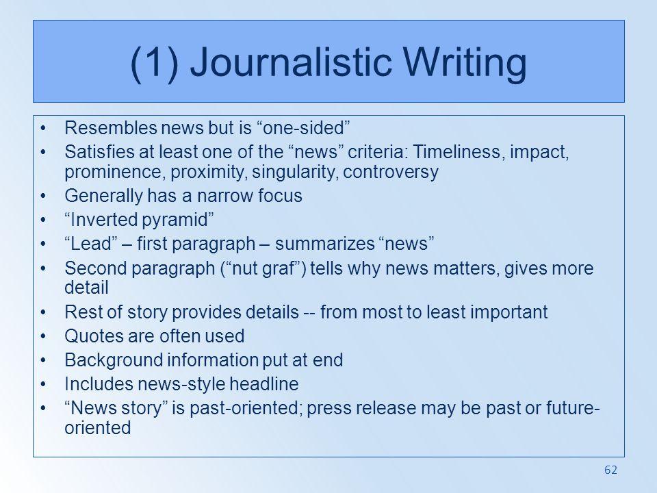 (1) Journalistic Writing
