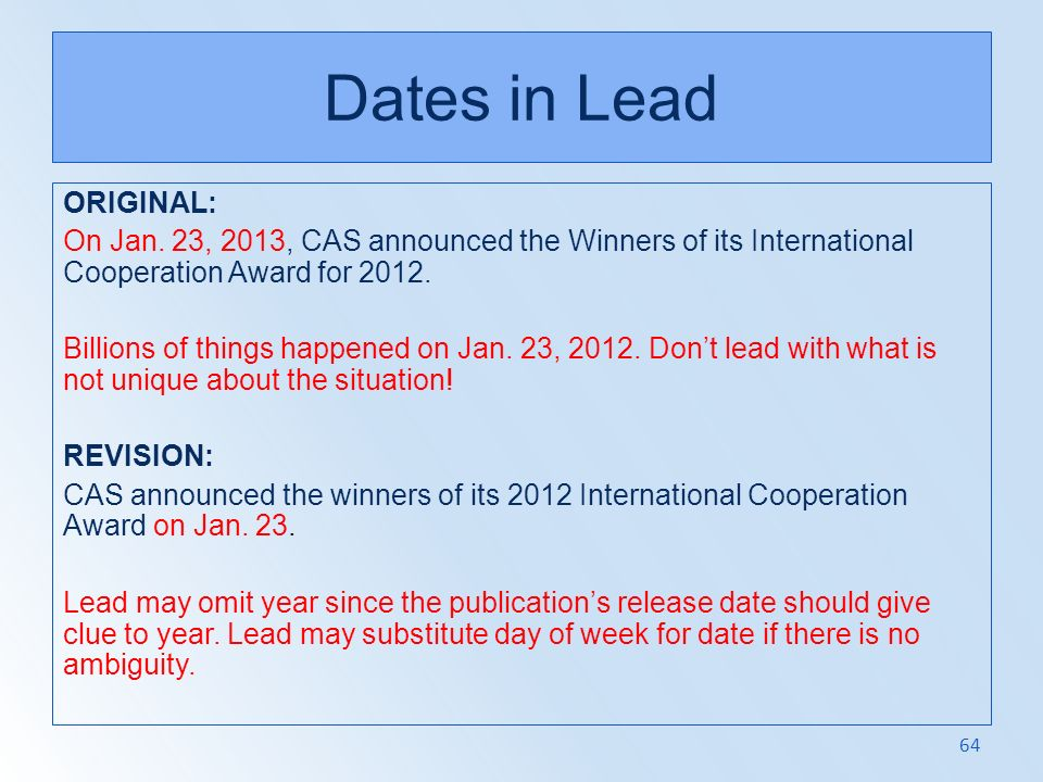 Dates in Lead ORIGINAL: