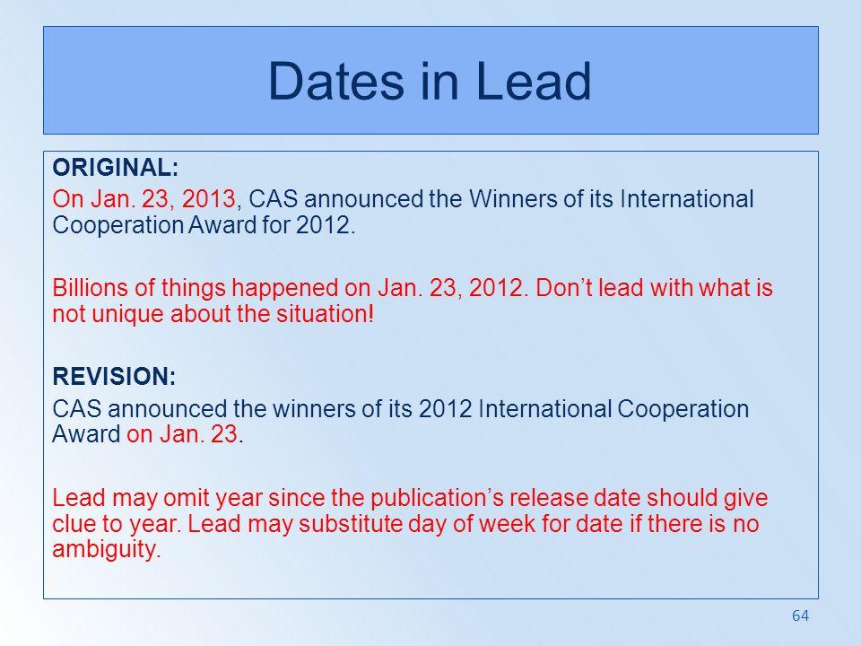 Dates in Lead ORIGINAL: