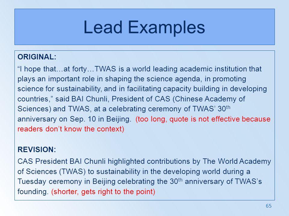 Lead Examples ORIGINAL: