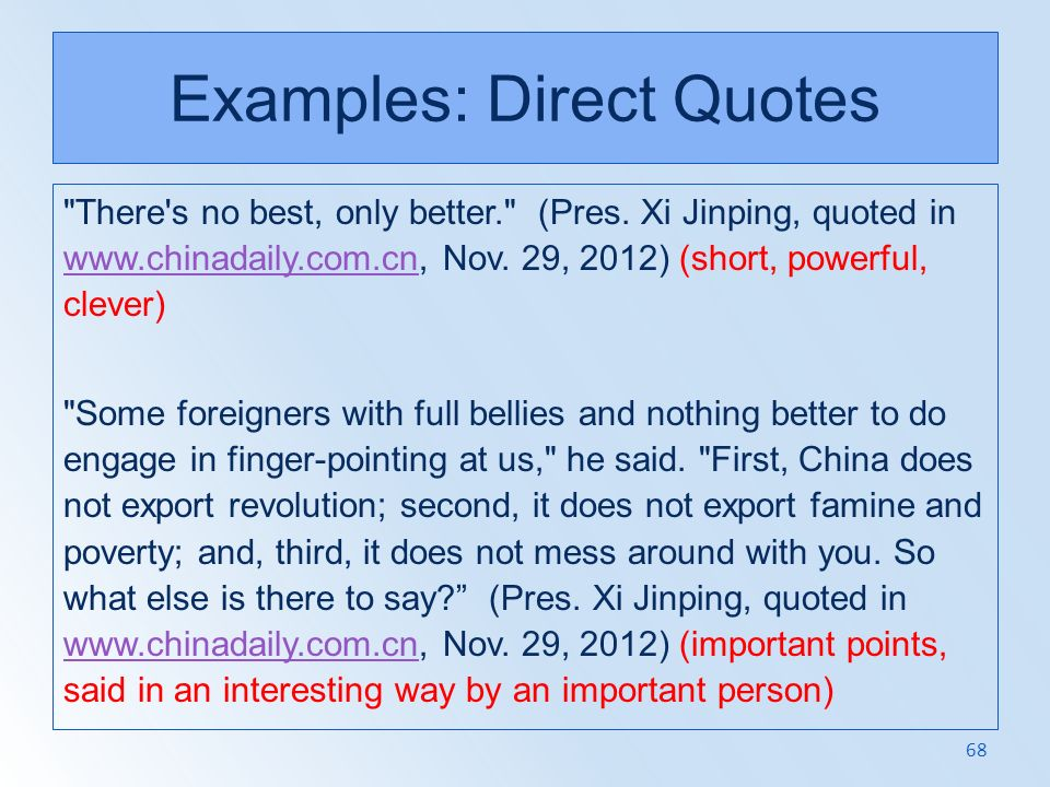 Examples: Direct Quotes