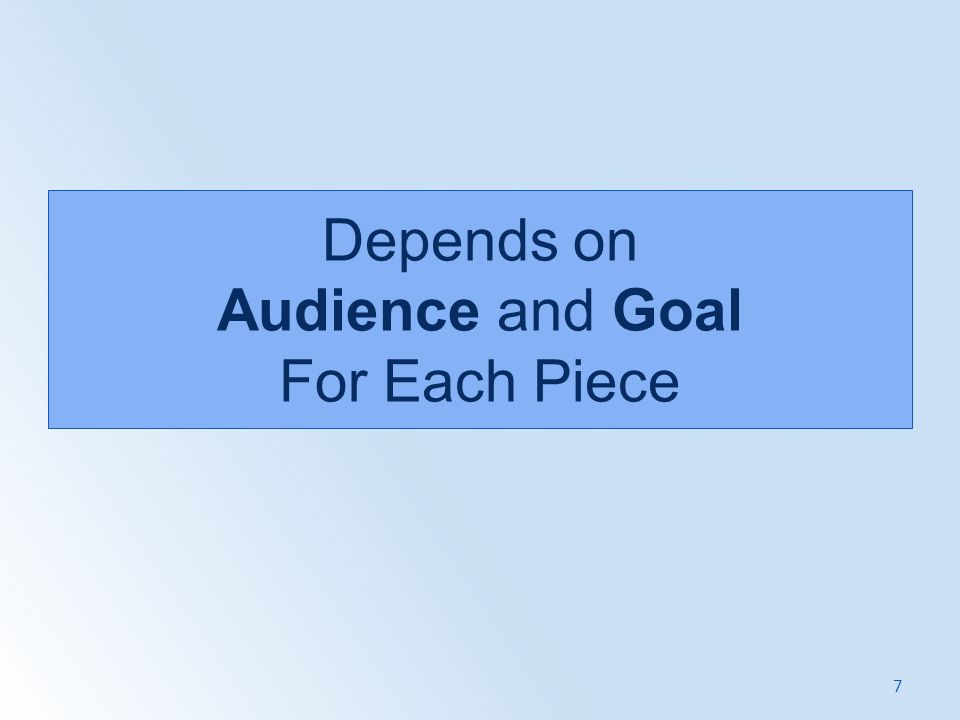 Depends on Audience and Goal For Each Piece