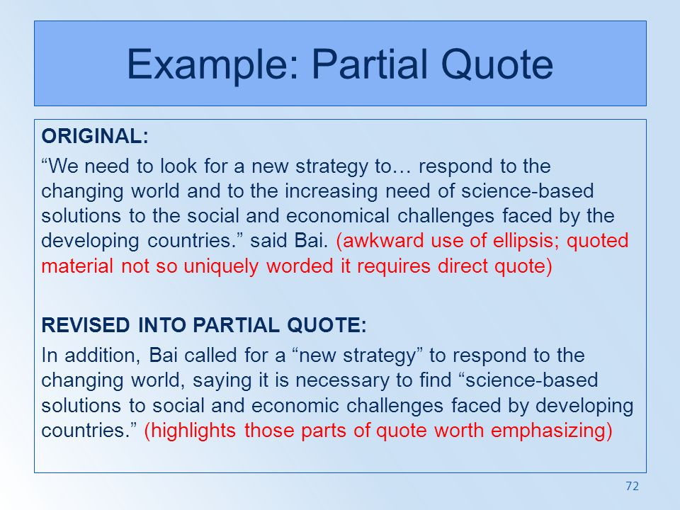 Example: Partial Quote