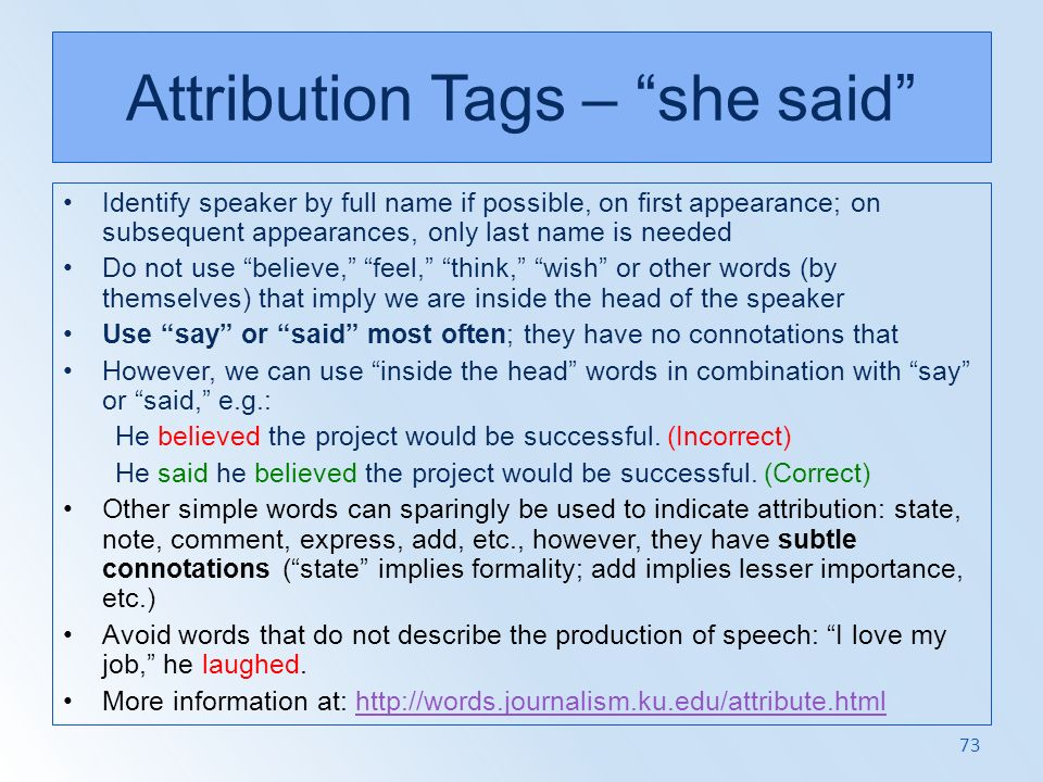 Attribution Tags – she said