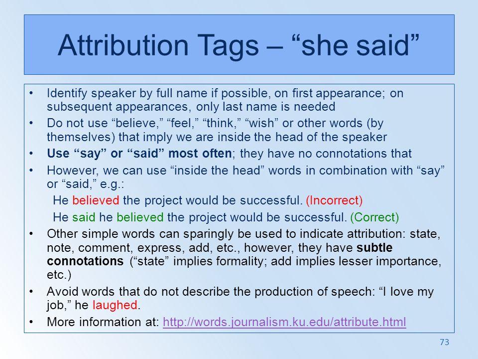 Attribution Tags – she said