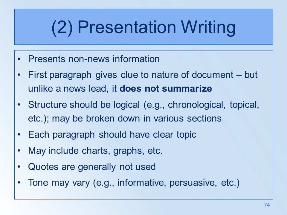 (2) Presentation Writing