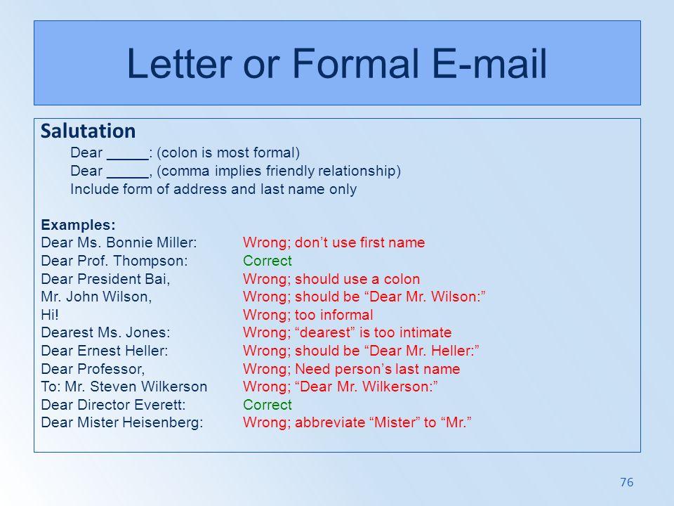 Letter or Formal E-mail