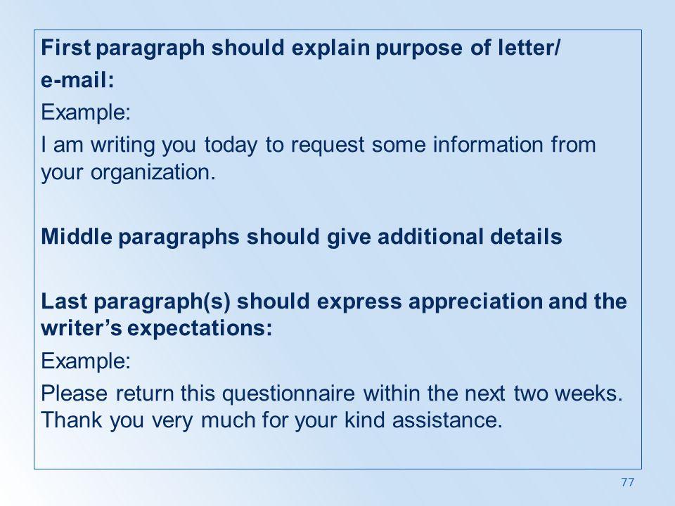 First paragraph should explain purpose of letter/