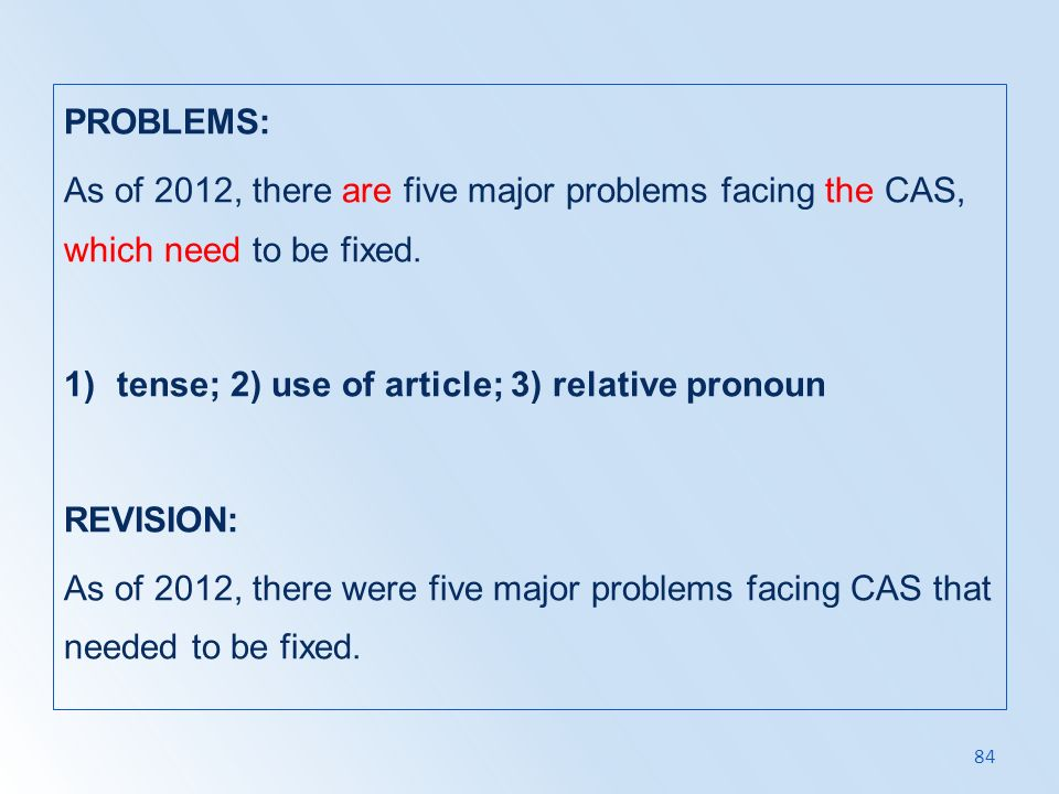 PROBLEMS: As of 2012, there are five major problems facing the CAS, which need to be fixed. tense; 2) use of article; 3) relative pronoun.