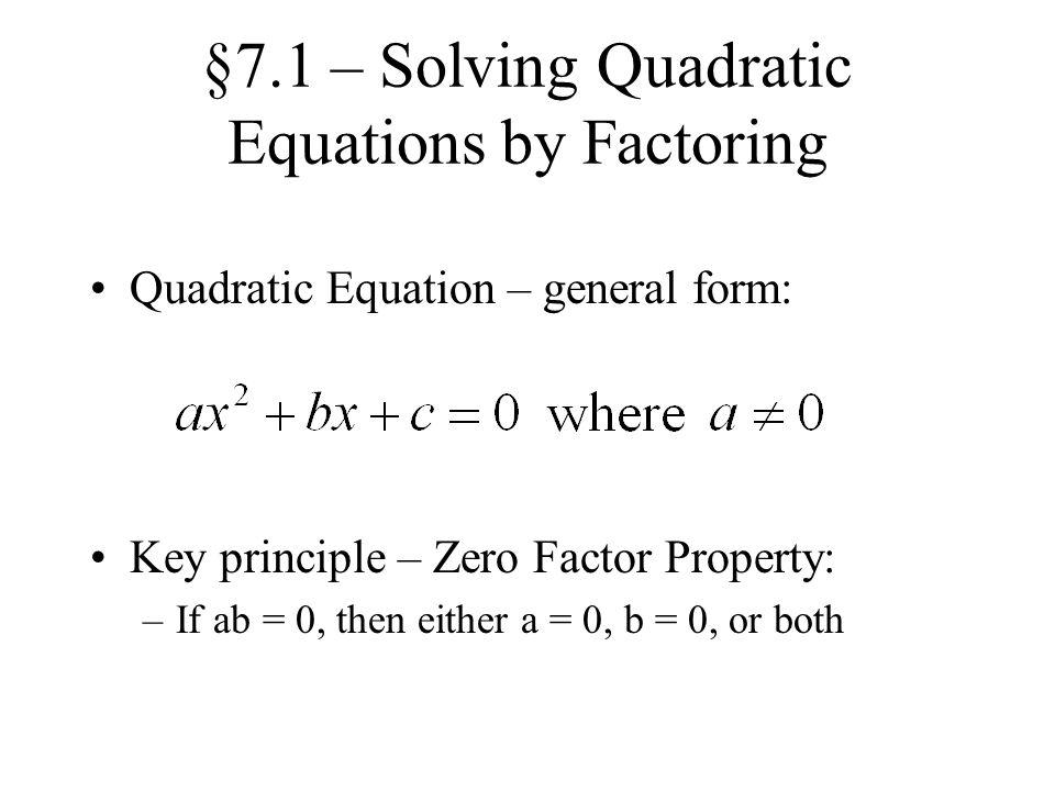 Chapter 7 Quadratic Equations - ppt download