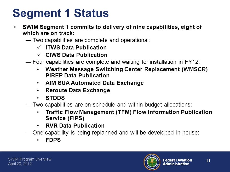 Segment 1 Status SWIM Segment 1 commits to delivery of nine capabilities, eight of which are on track: