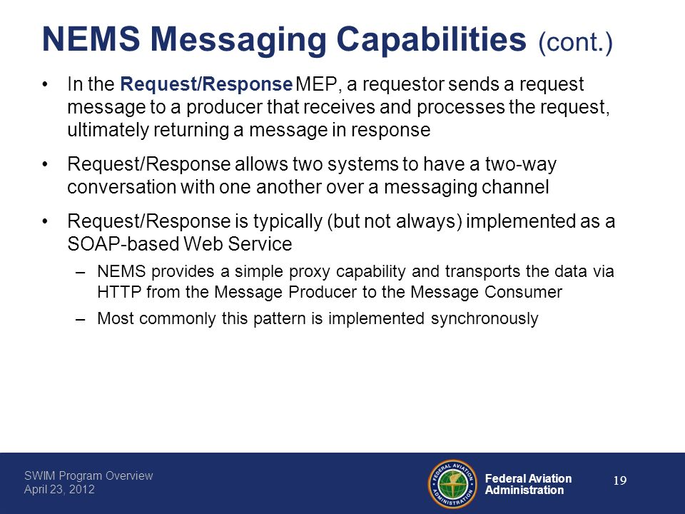 NEMS Messaging Capabilities (cont.)