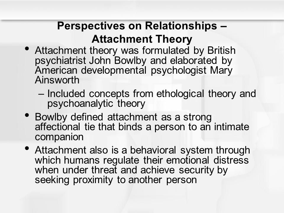 basic concepts in attachment theory Two important concepts of attachment theory that are relevant for the secure base model will be briefly summarised here: internal working models and mind mindedness.