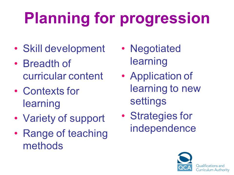Planning for progression