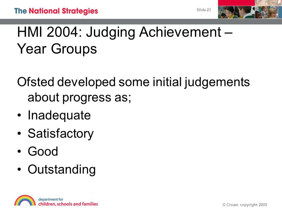 HMI 2004: Judging Achievement – Year Groups