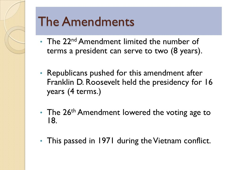 constitutional amendment 22 Earlier this month, rep jose serrano, d-ny introduced h j res 5, a bill that would repeal the constitution's 22nd amendment prohibiting a president.
